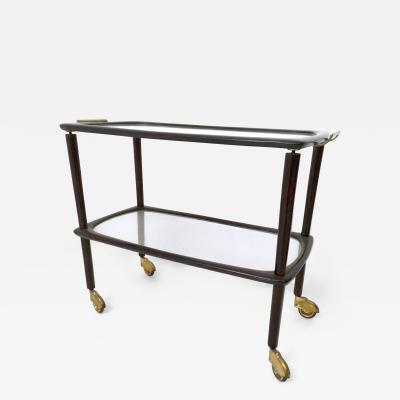 Beech Brass and Glass Serving Cart Italy 1960s