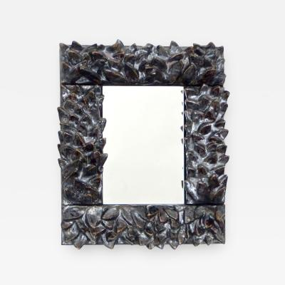 Bela Silva Bela Silva Sculptural Carved Floral Motif Ceramic Wall Mirror