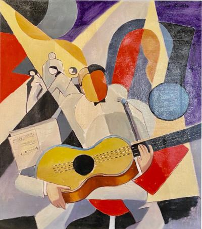 Bela de Kristo BELA DE KRISTO Art Deco Cubist Oil on Canvas Man Playing Guitar