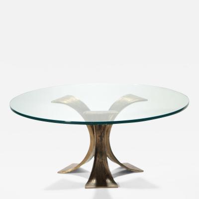Belgian Hollywood Regency brutalist coffee table in solid bronze 1970 s
