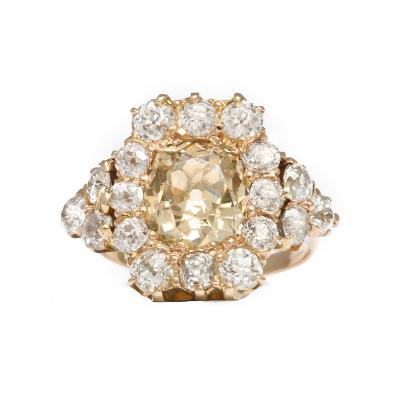 Belle Epoque Cinnamon Colored Old Mine Diamond Cluster Ring