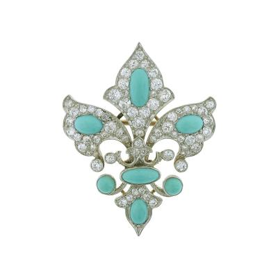 Belle poque Turquoise Diamond Fleur de lis Brooch Pendant Combination