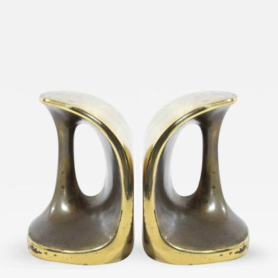 Ben Seibel Patinated Brass Bookends by Ben Seibel for Jenfred Ware