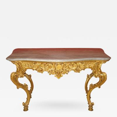 Benedetto Aufieri Gilded and Carved Two Drawer Console of Extraordinary Quality