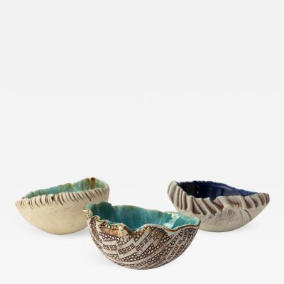 Bengt Erik Berglund 3 Scandinavian Modern Hand Built and Glazed Bowls by Artist Bengt Berglund