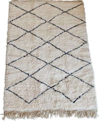 Beni Ourain Beni Ourain Moroccan Tribal Atlas Mountains Cream and Black Rug