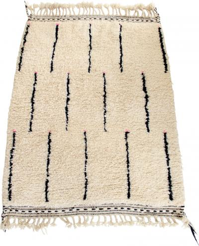 Beni Ourain Beni Ourain Moroccan Tribal Rug Cream and Black Touch of Pink