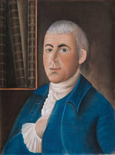 Benjamin Blyth Portrait of a Gentleman Wearing a Blue Coat with Ledger Books MA c 1780
