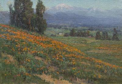 Benjamin Brown Poppies with Mount Baldy in the Distance