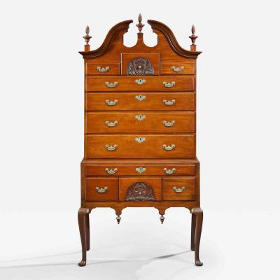 Benjamin Frothingham Queen Anne Bonnet Top Highboy with Two Carved Drawers