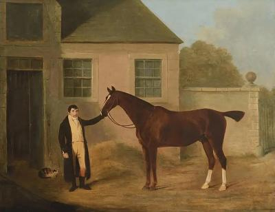 Benjamin Marshall English Oil Painting of Horse and Groom Attributed to Ben Marshall