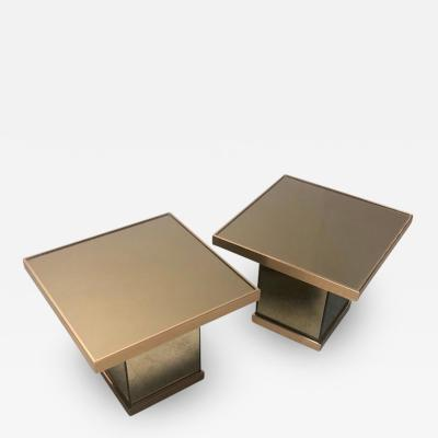 Benjamin Martin Bronze Mirror Modernist Pair of Side Tables 1970s
