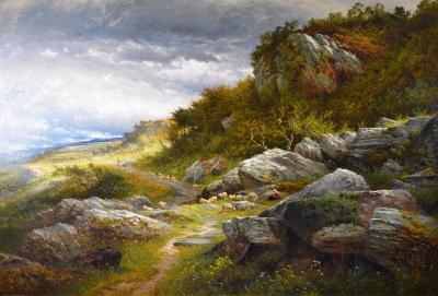 Benjamin Williams Leader A Welsh Hillside Path Huge 19th Century Royal Academy Oil Painting