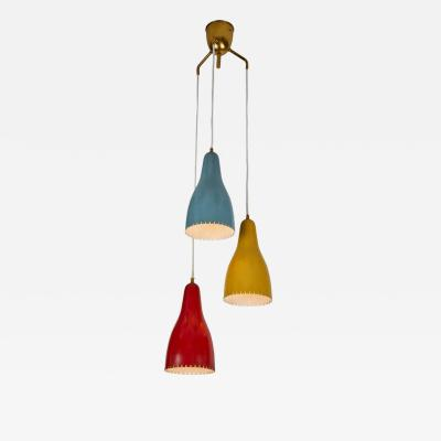 Bent Karlby 1950s Bent Karlby 3 Cone Chandelier for Lyfa