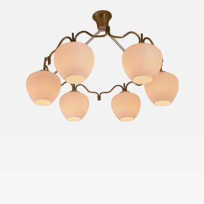Bent Karlby Bent Karlby brass six shade chandelier for Lyfa Denmark 1950s