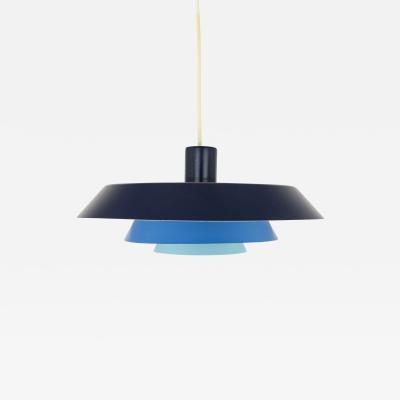 Bent Karlby Blue metal Troika Pendant by Bent Karlby for Lyfa 1960s