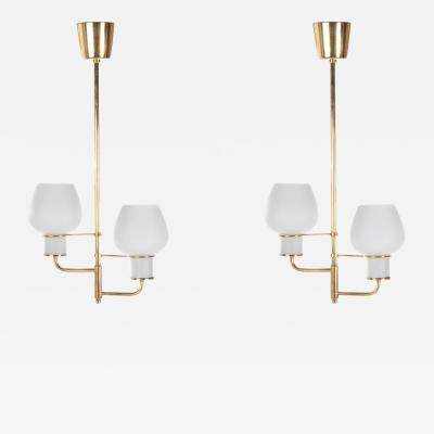 Bent Karlby Pair of Bent Karlby attr brass ceiling lamps with opal glass shades