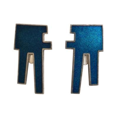 Bente Bonne Georg Jensen Sterling Silver Clip On Earrings Blue Enamel No 132 by Bente Bonne