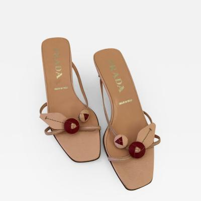 Bernadette Prada Prada Leather Pink and Red Berry Vintage Sandals