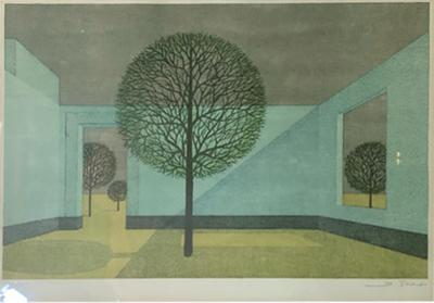Bernard Ghobert MODERNIST TREES IN INTERIOR LITHOGRAPH BY BERNARD GHOBERT