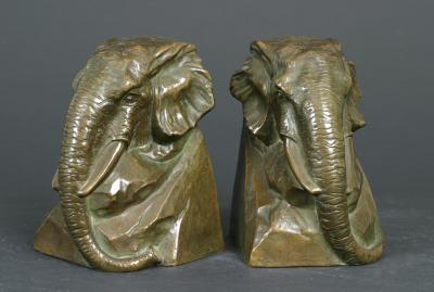 Bernard Johnson Elephant Head Bookends