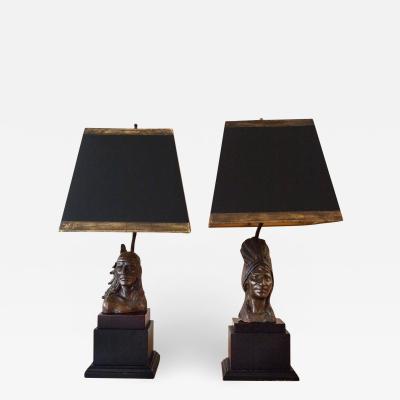 Bernard Kim Pair of Bronze Figural Lamps