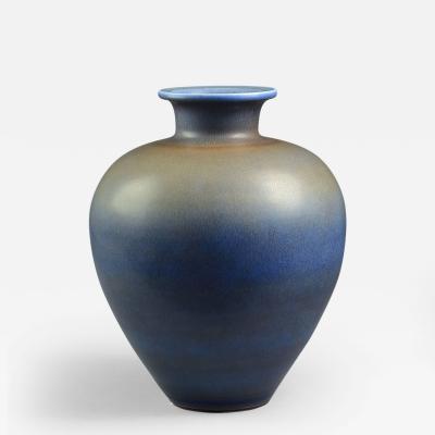 Berndt Friberg Berndt Friberg Very Large Vase with Blue Haresfur Glaze