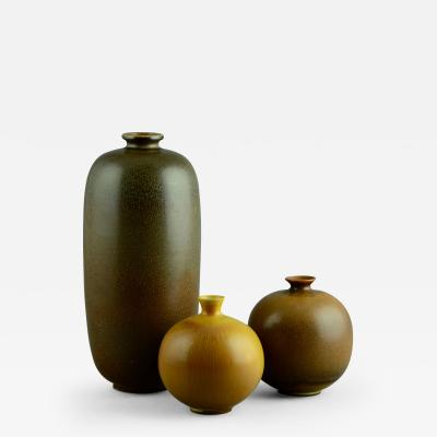 Berndt Friberg Berndt Friberg for Gustavsberg Group of Vases with Brown Haresfur Glaze 1960s