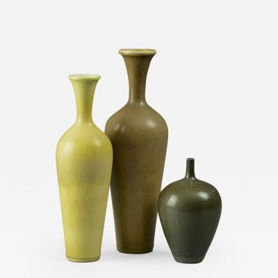 Berndt Friberg Berndt Friberg for Gustavsberg Group of Vases with Haresfur Glaze