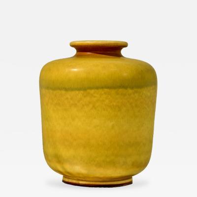Berndt Friberg Large Yellow Stoneware Vase by Berndt Friberg for Gustavsberg