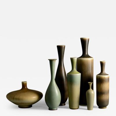 Berndt Friberg Seven vases by Berndt Friberg for Gustavsberg with brown and gray haresfur glaze