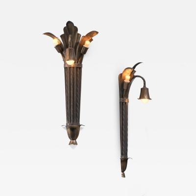 Bernham Linder Pair of Bernham Linder copper wall lamps