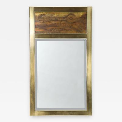 Bernhard E Rohne 1970s Bernhard Rohne for Mastercraft Rectangular Mirror with Acid Etched Panel