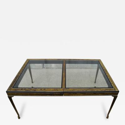 Bernhard E Rohne Acid Etched Brass Lacquer Dining Table by Bernhard Rohne for Mastercraft