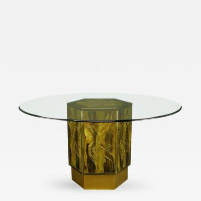 Bernhard E Rohne Bernhard Rohne for Mastercraft Acid Etched Brass Hexagonal Pedestal Table