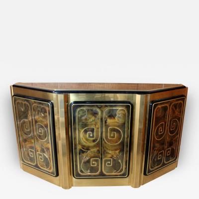 Bernhard E Rohne Bernhard Rohne for Mastercraft Etched Brass Demilune Console Cabinet