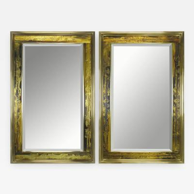 Bernhard E Rohne Pair of Mastercraft Bernhard Rohne Acid Etched Frame Beveled Mirrors