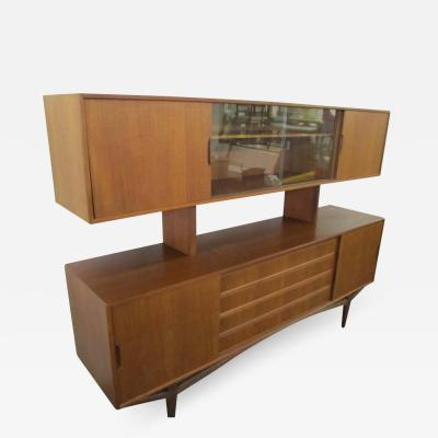 Bernhard Pedersen Son Lovely Teak Danish Credenza with Floating Hutch Room Divider Unusual Legs