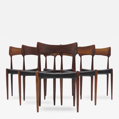 Bernhard Pedersen Son Rosewood Dining Chairs by Bernhard Pedersen Sons