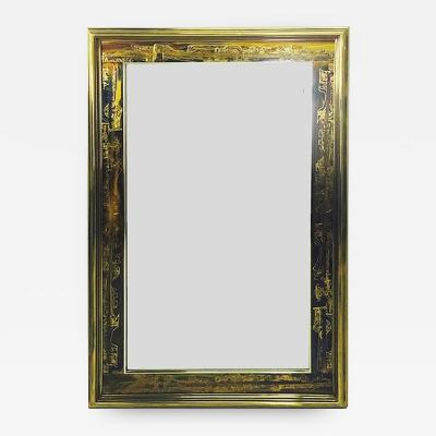 Bernhard Rohne Acid Etched Frame Beveled Mirror by Bernhard Rohne for Mastercraft
