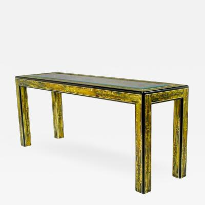 Bernhard Rohne Bernhard Rohne Acid Etched Brass Console Table By Mastercraft