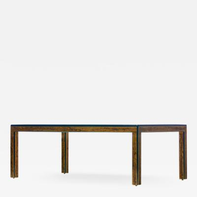 Bernhard Rohne Bernhard Rohne Acid Etched Brass and Glass Dining Table for Mastercraft