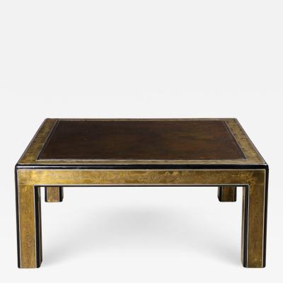 Bernhard Rohne Bernhard Rohne Mastercraft Acid Etched Brass Coffee Table with Lacquered Center