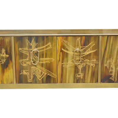 Bernhard Rohne Credenza Brass Acid Etched by Bernhard Rohne for Mastercraft 1970s