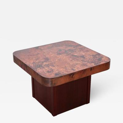 Bernhard Rohne Rare Copper and Mahogany Coffee or Side Table by Bernhard Rohne