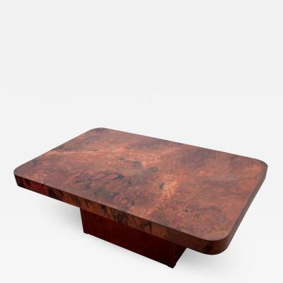 Bernhard Rohne Rare Huge Copper and Mahogany Coffee Table by Bernhard Rohne