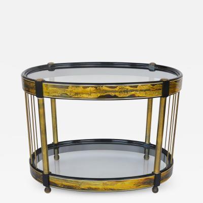 Bernhard Rohne Table Brass Acid Etched by Bernhard Rohne for Mastercraft 1970s