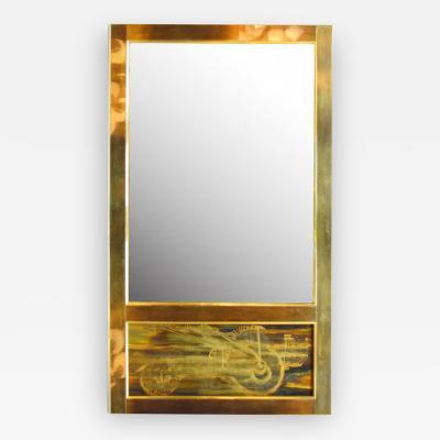 Bernhard Rohne Wall Mirror Brass Acid Etched by Bernhard Rohne for Mastercraft 1970s