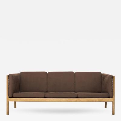 Bernt Petersen Oak and Cane 3 Seat Sofa
