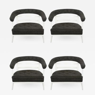 Bert England Four Bert England White Lacquer and Black Polka Dot Lounge Chairs